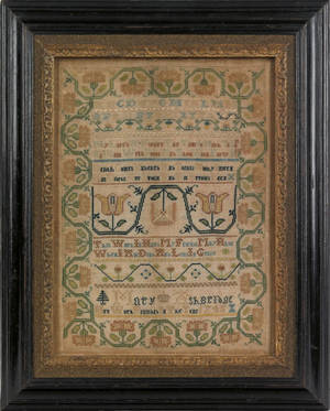 Important Philadelphia silk on linen band sampler dated 1745 and wrought by Mary Ashbridge of Chester County