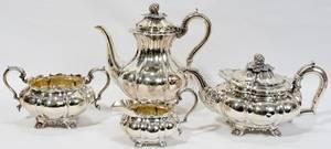 011038 GEORGE III STERLING SILVER TEA  COFFEE SET