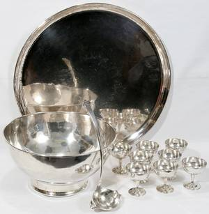 011046 MEXICAN STERLING SILVER PUNCH BOWL SET