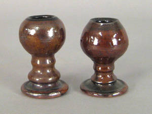 Two IS Stahl redware egg cups dated 1946
