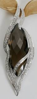 010051 14K GOLD DIAMOND  SMOKY QUARTZ PENDANT