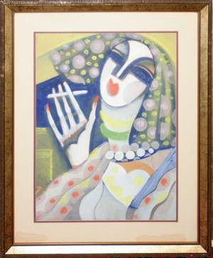 122040 HUGO SCHEIBER GOUACHE  WATERCOLOR WOMAN