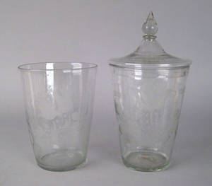 Two blown colorless flip glasses early 19th c