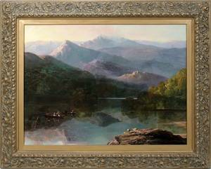 122005 AMERICAN SCHOOL OIL ON CANVAS LAKE LURE