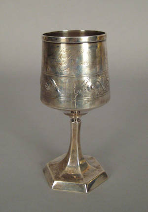 Gorham silver marriage goblet presented  to Mary Austin Lewis