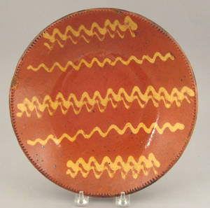 Rare New Jersey redware pie plate 19th c