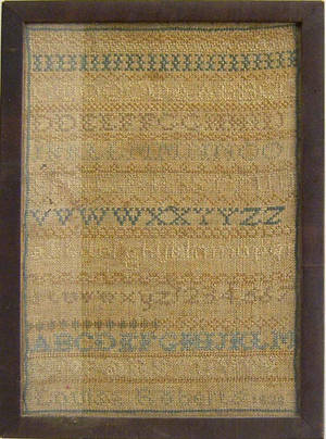 Silk on linen sampler dated 1828 wrought by Louisa Roberts
