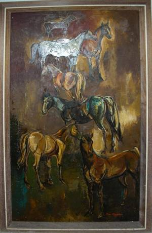 081090 DON RUFFIN OIL ON WOOD PANEL SIX HORSES