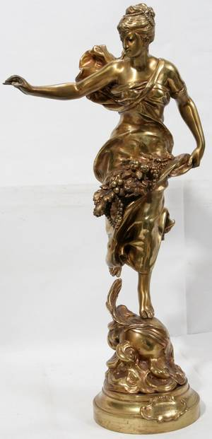 081076 BRASS FIGURAL SCULPTURE ALLEGORY OF ABUNDANCE