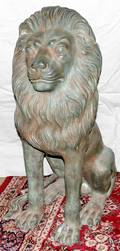 101151 BRONZE SEATED LION GARDEN SCULPTURE 20TH C