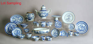 Large group of Chinese export blue and white porcelain