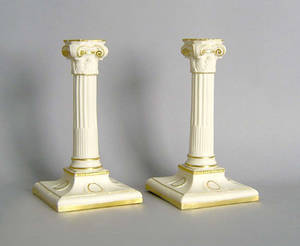 Pair of Royal Worcester candlesticks