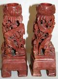070108 CHINESE CARVED SOAPSTONE CANDLESTICKS H 6