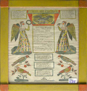 Allentown printed and hand colored fraktur dated 1833