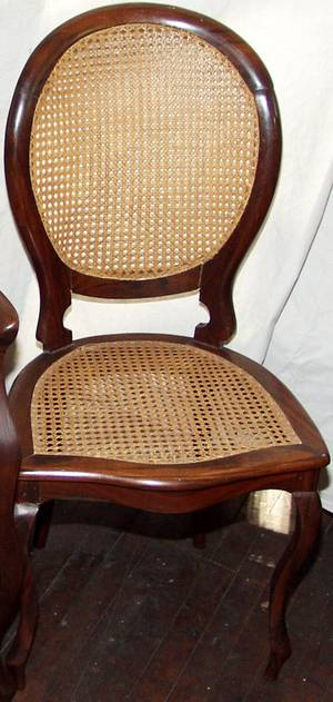 100092 QUEEN ANNE STYLE MAHOGANY  CANE DINING CHAIRS