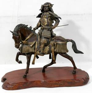 092092 JAPANESE BRONZE SAMURAI W SPEAR ON HORSEBACK