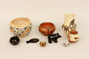 Group of Ten Native American Vessels  Animals