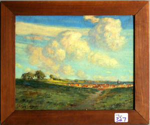 Oil on board landscape with a town