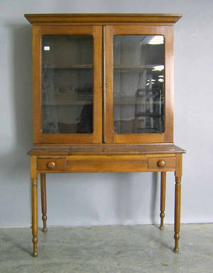 Sheraton walnut desk and bookcase