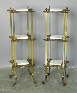 Pair of gilt marble top stands