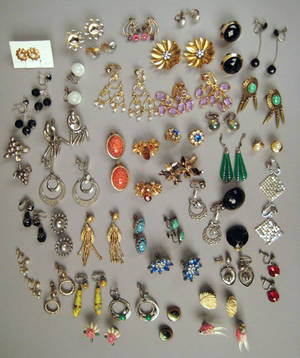 Large group of earrings