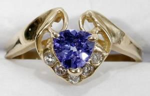 100151 5CT TANZANITE DIAMOND  14K YELLOW GOLD RING