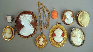 Nine cameo pendants and brooches