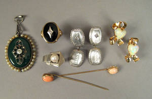 Group of white and yellow gold jewelry