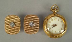 Modified 14K yellow gold diamond cufflinks turned into earrings