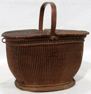 091210 WOVEN BASKET WITH HANDLE H 10 12 L 11