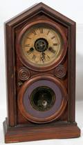 082087 ANSONIA WALNUT 8 DAY STEEPLE CLOCK ANTIQUE