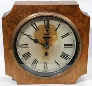 082085 SESSIONS OAK WALL CLOCK TIN FACE ANTIQUE