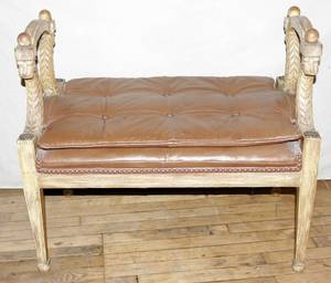 101282 BAKER NEOCLASSICAL STYLE CARVED WOOD BENCH