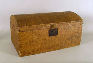 New Hampshire painted basswood dome lid box ca 1827