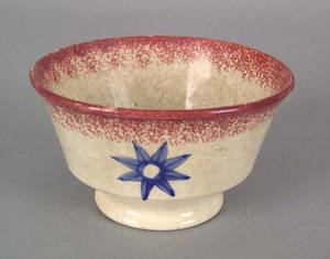 Red spatter waste bowl 19th c