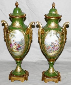 092147 SEVRES FRENCH PORCELAIN COVERED MOUNTED URNS