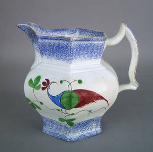 Blue spatter pitcher 19th c