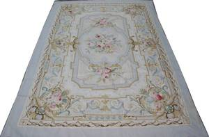 092259 WOOL NEEDLEPOINT RUG AUBUSSON FLORAL PATTERN