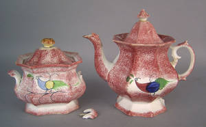 Red spatter teapot and covered sugar 19th c