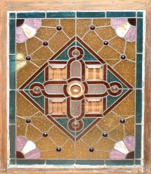 090168 AMERICAN STAINED  LEADED GLASS WINDOW H 30