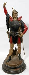 082163 ENGLISH SPELTER KNIGHT WOOD BASE HAND PAINTED