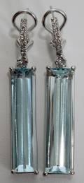 082148 226CT OCEANIC AQUAMARINE  DIAMOND EARRINGS