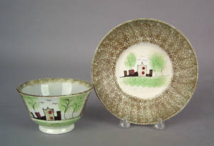 Olive greenbrown spatter cup and saucer 19th c