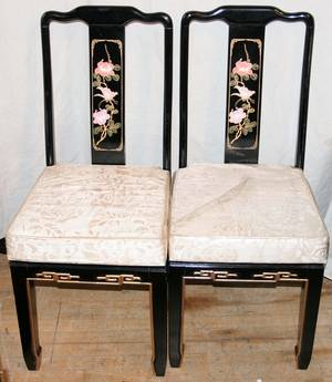 071200 CHINOISERIE BLACK LACQUERED TABLE  CHAIRS