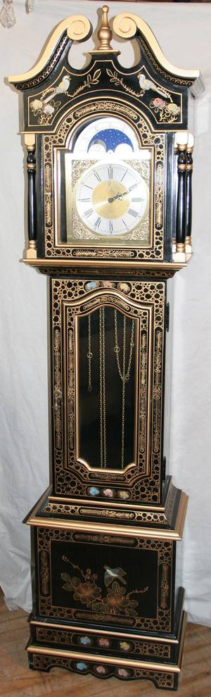 071206 CHINOISERIE BLACK LACQUERED CLOCK H 77