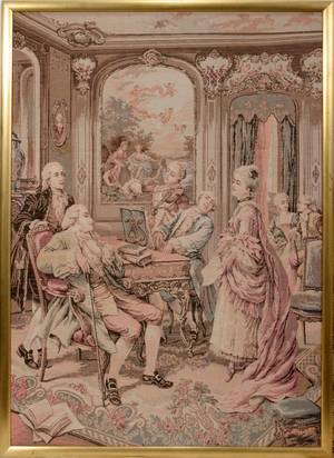 070213 FRAMED TAPESTRY DEPICTING A PARLOR SCENE