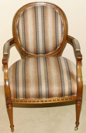 061284 LOUIS XVI STYLE WALNUT FRAMED OPEN ARMCHAIR