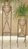 061270 NEOCLASSICAL STYLE IRON PLANTERS SET OF TWO