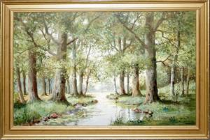 100210 MARTIN L OIL PAINTING FOREST LANDSCAPE