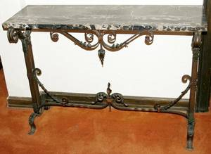 092215 WROUGHT IRON  BLACK MARBLE TOP CONSOLE TABLE